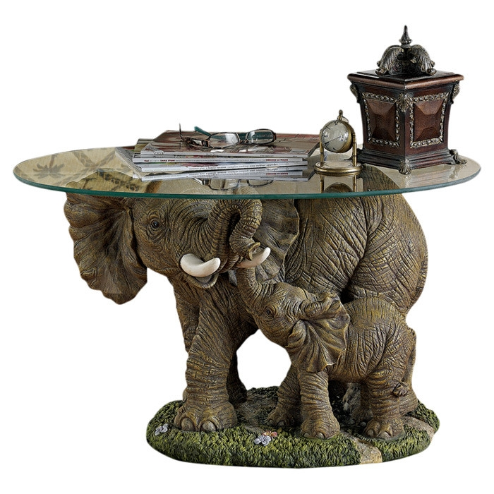 Stunning Preferred Elephant Coffee Tables With Glass Top With Regard To Design Toscano Elephants Majesty Coffee Table With Glass Top (View 6 of 40)