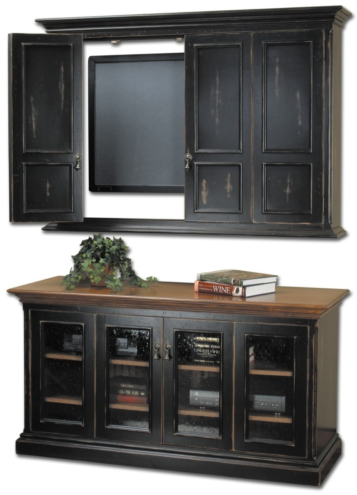 Stunning Preferred Enclosed TV Cabinets With Doors For Rustic Unpolished  Wood Wall Mounted Tv Stand Cabinet On Light Gray