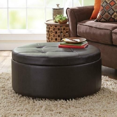 Stunning Preferred Round Coffee Tables With Storage Regarding Round Tufted Storage Ottoman Coffee Table (Image 42 of 50)
