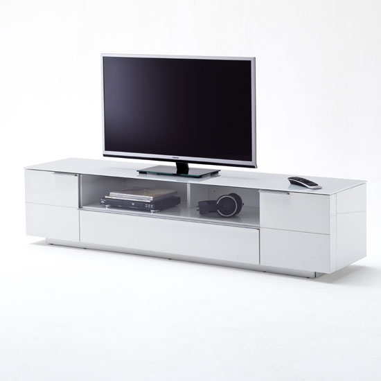 Stunning Preferred White Glass TV Stands Pertaining To Canberra Lcd Tv Stand In Glass Top And White Gloss With  (Image 46 of 50)