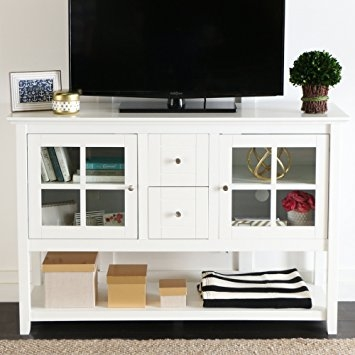 Stunning Preferred White Wooden TV Stands Regarding Amazon We Furniture 52 Console Table Wood Tv Stand Console (Image 44 of 50)
