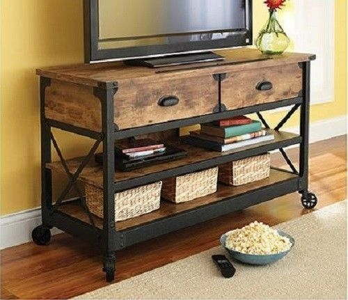 Stunning Preferred Wooden TV Stands With Wheels Inside Wood Tv Stand Metal Cart Wheels Living Room Entertainment Center (Image 48 of 50)