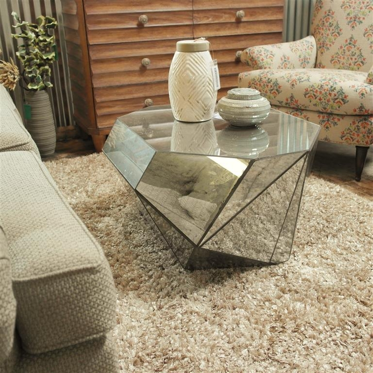 Stunning Premium Antique Mirrored Coffee Tables Inside Matthews Coffee Table Wantique Facet Mirrors (View 17 of 40)