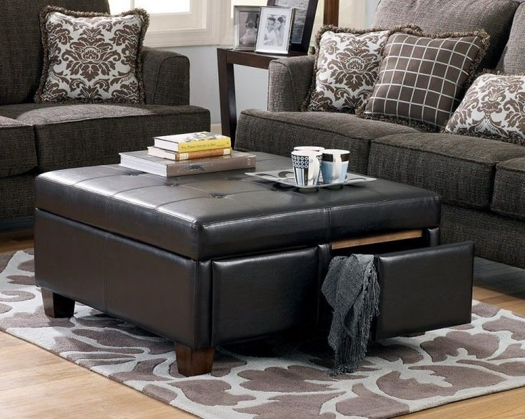 Featured Image of Brown Leather Ottoman Coffee Tables With Storages