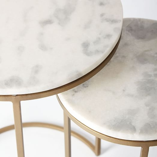 Stunning Premium Coffee Tables With Nesting Stools With Regard To Round Nesting Side Tables Set Marbleantique Brass West Elm (Image 42 of 50)