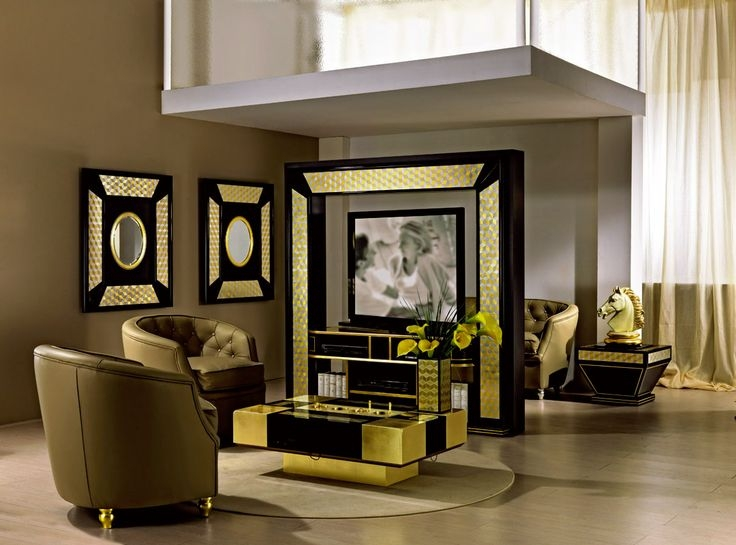 Stunning Premium Gold TV Stands For Tv Stand Tv Rack For Middle Room With Motorized Rotation (View 19 of 50)