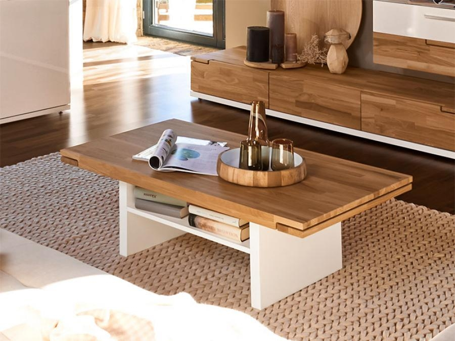 Stunning Premium Oak Coffee Tables With Shelf With White And Wood Coffee Table (Image 37 of 40)