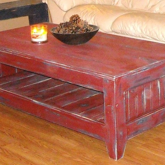 Stunning Premium Red Coffee Table Intended For Rustic Red Coffee Table Rustic Red Coffee Table Nanudeal (Image 47 of 50)