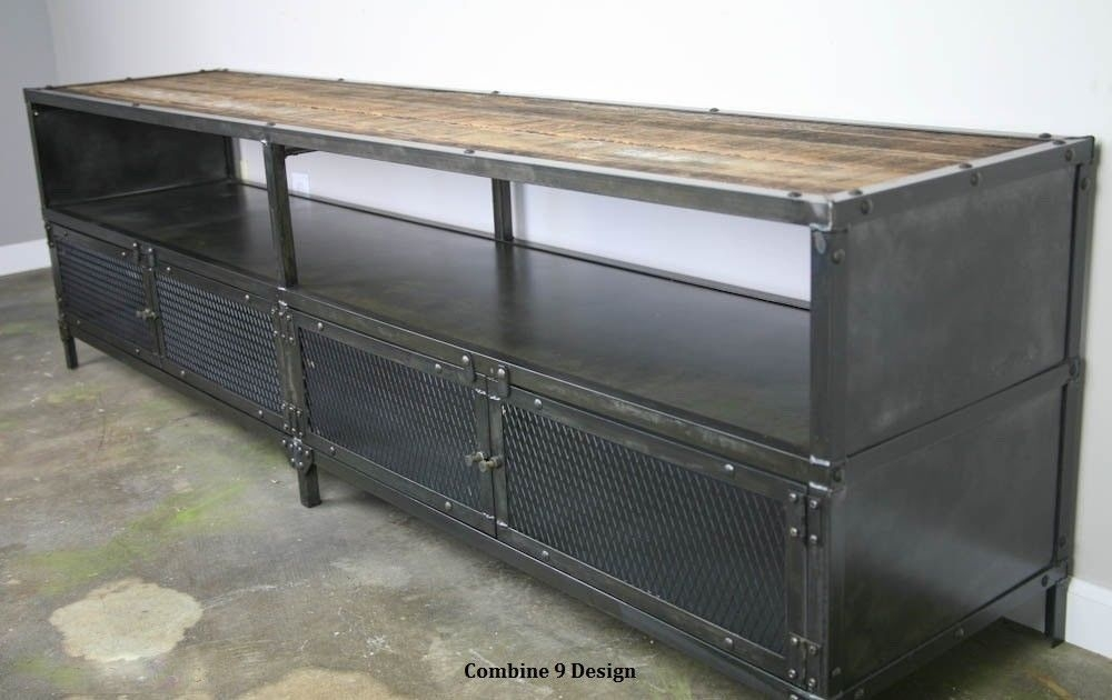 Stunning Premium Sideboard TV Stands With Media Consoletv Stand Vintage Industrial Reclaimed Wood Buffet (View 16 of 50)