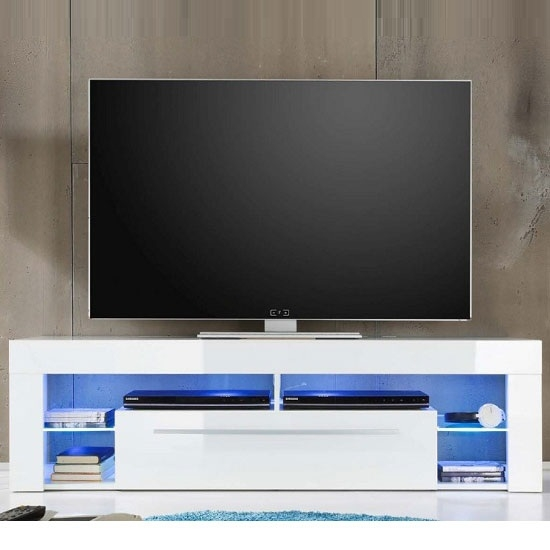 Stunning Premium White High Gloss TV Stands Unit Cabinet Intended For Sorrento Lowboard Tv Stand In White High Gloss With Blue (Image 41 of 50)