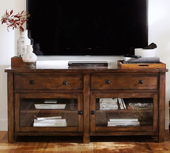 Stunning Series Of Bench TV Stands Pertaining To Benchwright Tv Stand Large Pottery Barn (Image 46 of 50)