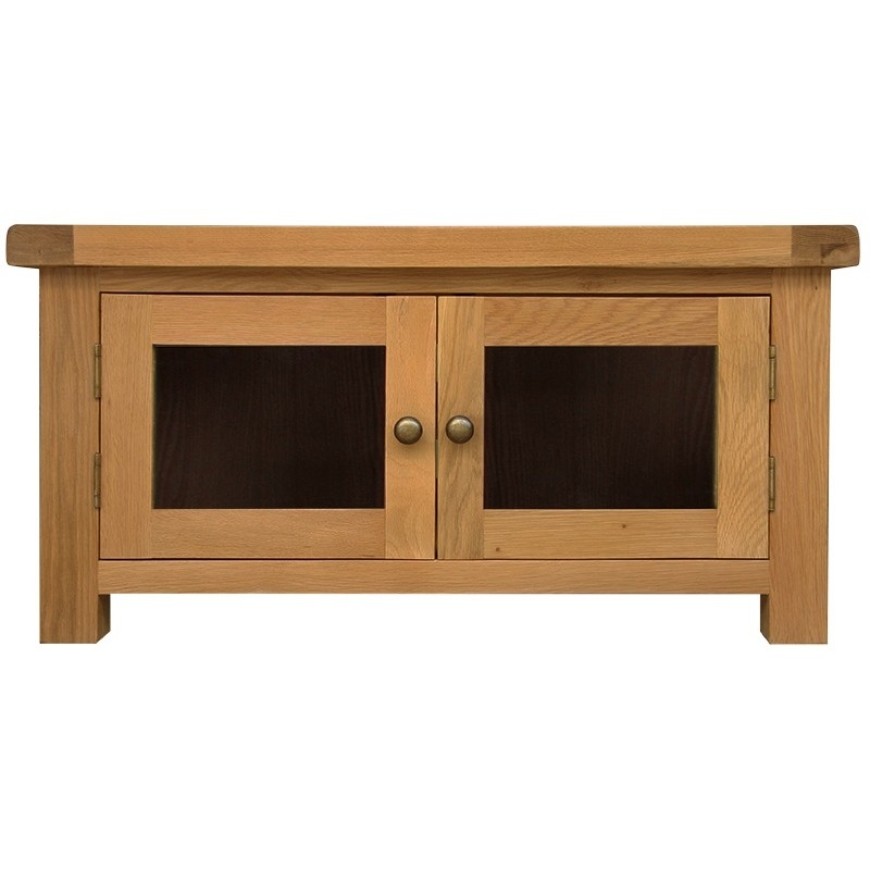 Stunning Series Of Chunky TV Cabinets Within Oakhampton Chunky Oak Standard Tv Unit With Glass Door (Image 40 of 50)