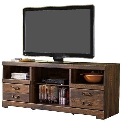 Stunning Series Of Dark Wood TV Stands Regarding Rustic Wood Tv Stand Dark Oak Entertainment Center Media Storage (View 9 of 50)