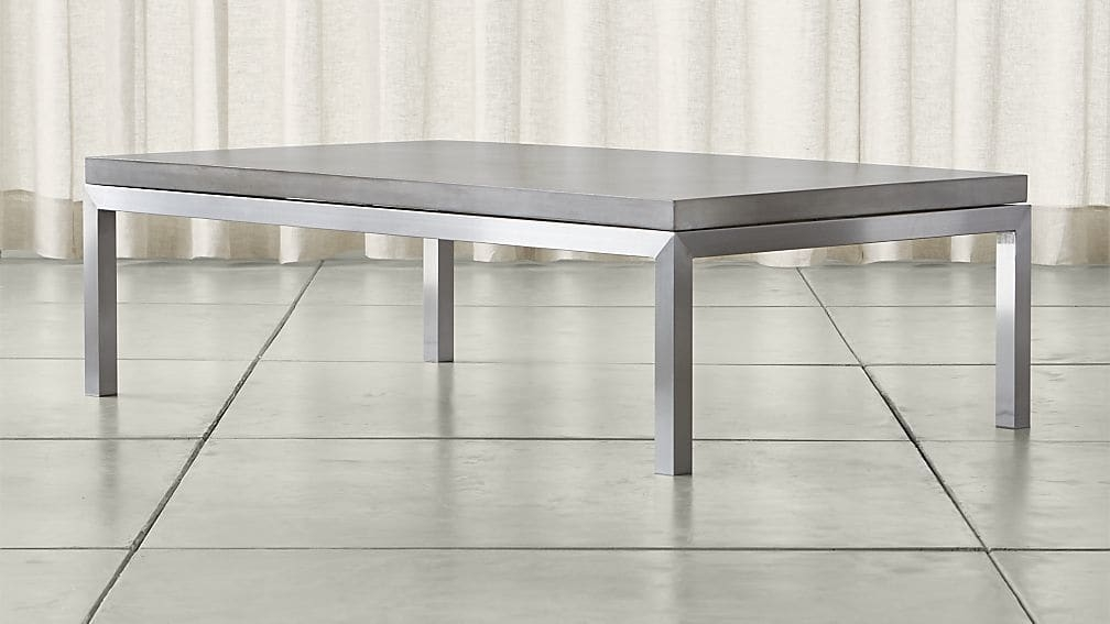 Stunning Series Of Large Rectangular Coffee Tables In Parsons Concrete Top Stainless Steel Base 60×36 Large Rectangular (Image 37 of 40)