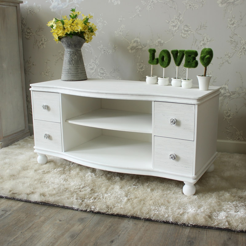 Stunning Series Of Long White TV Cabinets Regarding Lila Range White Tv Cabinet With 4 Drawers Melody Maison (Image 44 of 50)