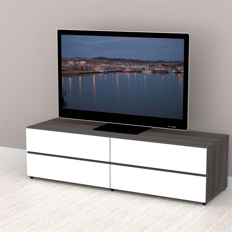 Stunning Series Of Nexera TV Stands For Nexera Allure Collection 60 In Tv Stand With 2 Drawers And 2 Flip (View 42 of 50)