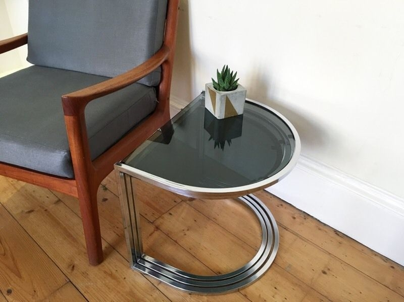 Stunning Series Of Retro Smoked Glass Coffee Tables With Regard To Vintage 1970s Chrome And Smoked Glass Nest Of Side Tables 3 Mid (View 38 of 40)