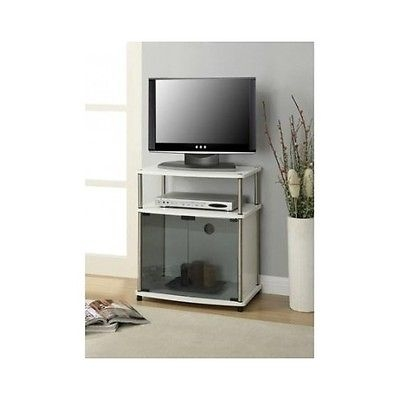 Stunning Series Of Small White TV Cabinets Inside White Tv Stand Cart Small Media Console Table Glass Doors Wood (Image 41 of 50)