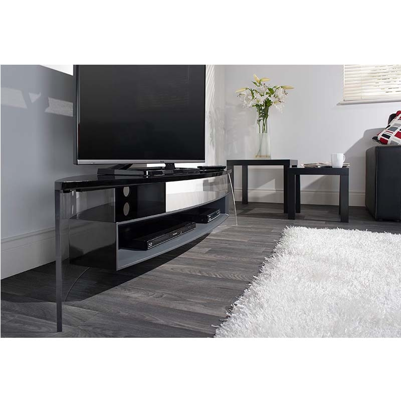Stunning Series Of Techlink Air TV Stands Regarding Techlink Air Curve Series 70 In Tv Stand Black And Satin Grey (Image 45 of 50)
