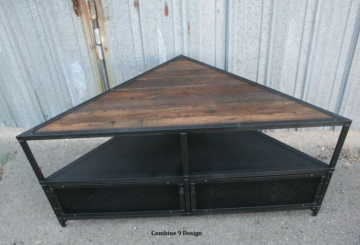 Stunning Series Of Vintage Industrial TV Stands Throughout Buy A Handmade Corner Unit Tv Stand Vintagemodern Industrial (Image 46 of 50)