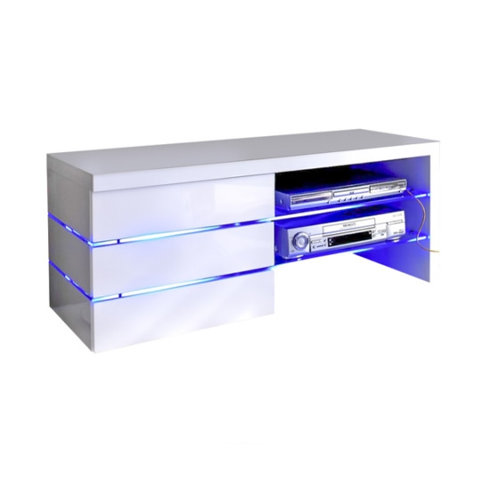 Stunning Series Of White Gloss TV Stands Regarding Sonia White High Gloss Tv Stand With Led Lights And Glass Tv (Image 47 of 50)