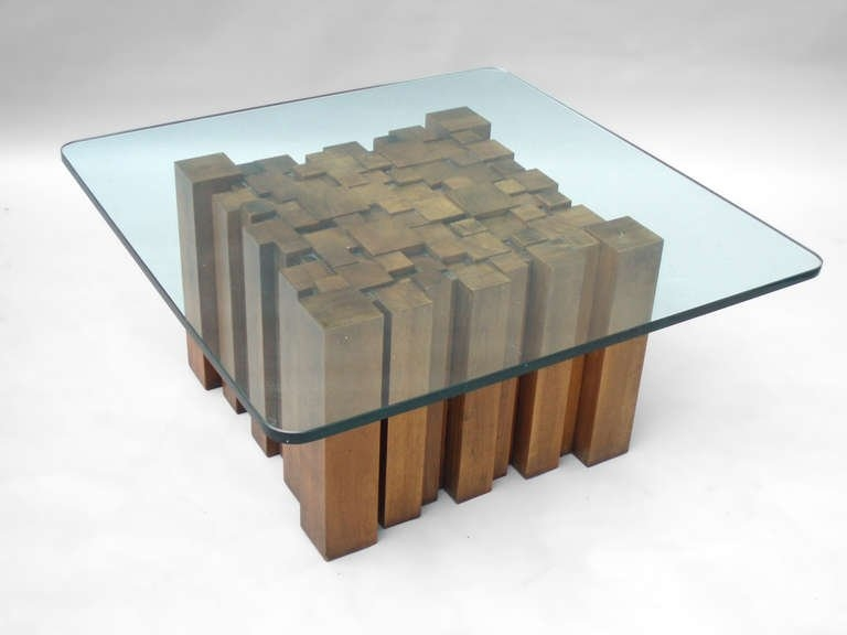 Stunning Series Of Wooden And Glass Coffee Tables For Stacked Wood Glass Top Coffee Table In The Style Of Paul Evans For (View 4 of 50)