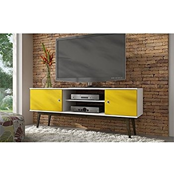 Stunning Series Of Yellow TV Stands Throughout Amazon Tv Stand In White And Yellow Home Audio Theater (View 10 of 50)