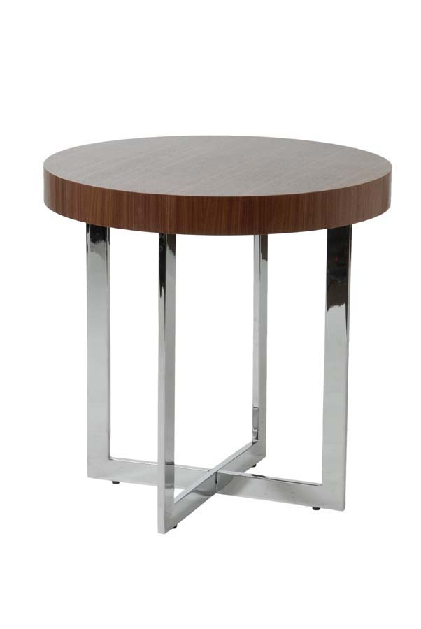 Stunning Top Chrome And Wood Coffee Tables In Eurostyle Oliver Round Wood Top Side Table In Walnut Chrome (View 25 of 50)
