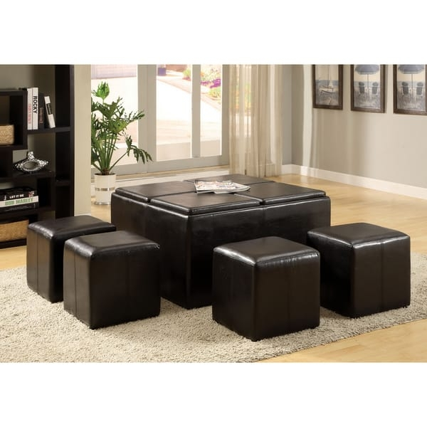 Stunning Top Coffee Tables With Nesting Stools Regarding Furniture Of America Miller Storage Ottoman With Four Nesting (Image 43 of 50)