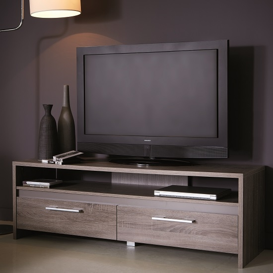 Stunning Top Dark Wood TV Stands Intended For Alaska Wooden Tv Stand In Dark Oak With 2 Drawers  (Image 47 of 50)