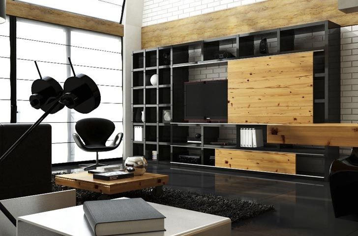 Stunning Top Industrial TV Cabinets Pertaining To Full Height Tv Cabinet Display Case Black Modern Industrial Wood (Image 44 of 50)
