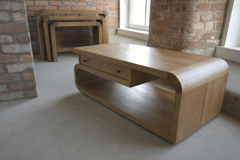 Stunning Top Light Oak Coffee Tables With Drawers Within Curved Coffee Table (View 7 of 40)