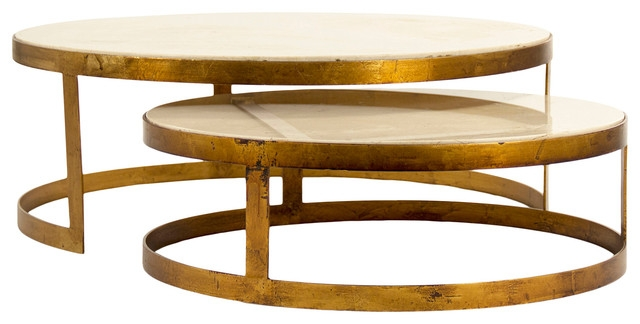 Stunning Top Nest Coffee Tables With Regard To Portia Global Ivory Stone Gold Nest Round Coffee Tables Eclectic (Image 42 of 50)