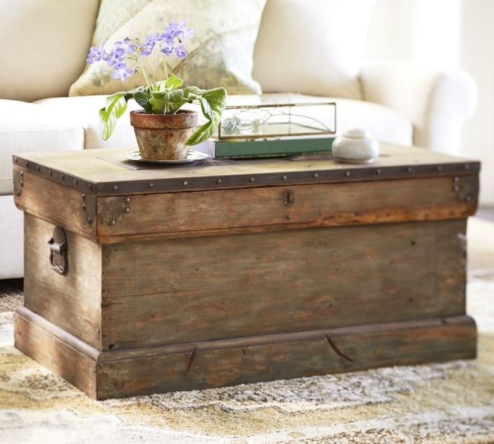 Stunning Top Trunks Coffee Tables With Regard To Rebecca Trunk Pottery Barn (Image 34 of 40)