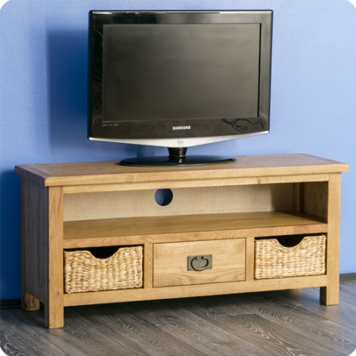 Stunning Top TV Stands With Storage Baskets With Surrey Oak Tv Stand With Storage Baskets Waxed Oak Wooden Tv (View 25 of 50)
