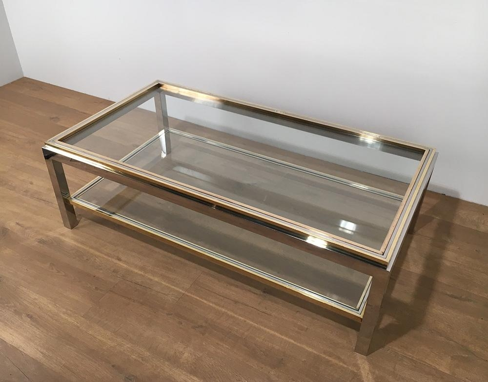 Stunning Top Vintage Glass Coffee Tables Within Vintage Glass Brass Coffee Table Willy Rizzo 1970s For Sale (Image 47 of 50)