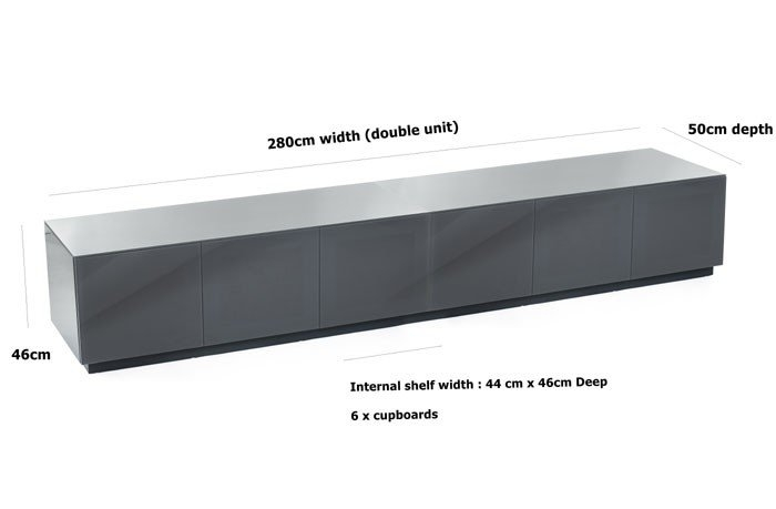Stunning Top Wide TV Cabinets With Frank Olsen Chic280 High Gloss Grey 280cm Wide Tv Cabinet (View 18 of 50)