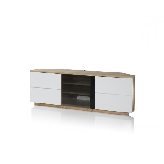 Stunning Trendy Corner Oak TV Stands Pertaining To Adele Corner Tv Stand In Oak With Glass And White Gloss (Image 45 of 50)