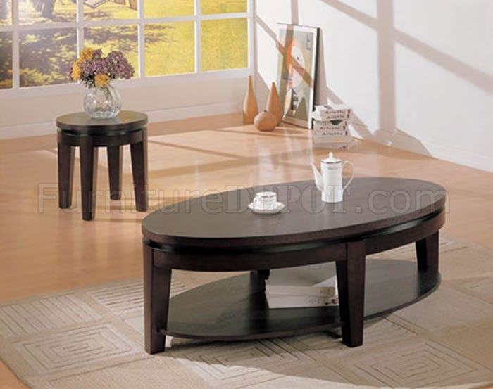 Stunning Trendy Oval Shaped Coffee Tables Throughout Cappuccino Finish Contemporary Oval Shape Coffee Table (View 12 of 50)