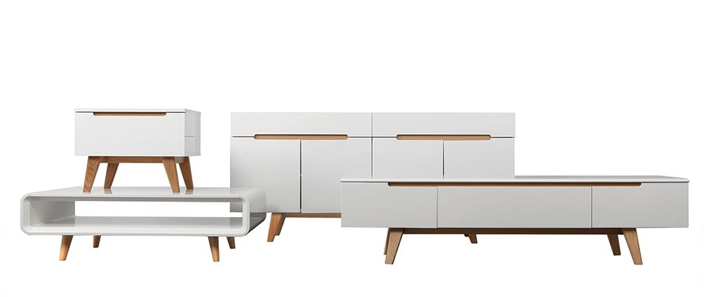 Stunning Trendy Scandinavian TV Stands Inside Scandinavian Style Glossy White And Ash Tv Stand 180cm Melka Miliboo (Image 45 of 50)