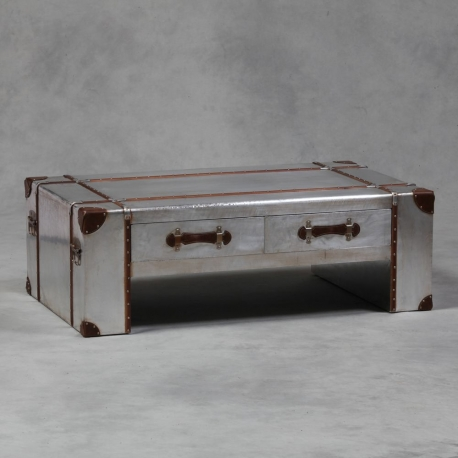 Stunning Trendy Silver Trunk Coffee Tables Inside Steve Silver Rowan Rectangle Weathered Gray Trunk Coffee Table (Image 37 of 40)