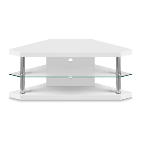 Stunning Trendy White Gloss Oval TV Stands Throughout Bravo Corner Tv Stand Atlantic Shopping (View 4 of 50)