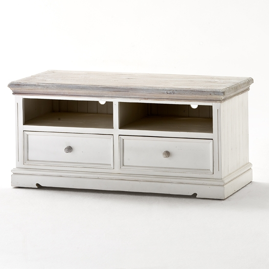 Stunning Unique Solid Pine TV Cabinets Intended For Opal Wooden Tv Cabinet In White Pine With 2 Drawers  (Image 45 of 50)