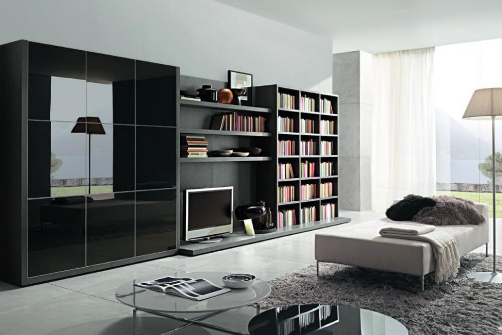 Stunning Unique TV Stands With Bookcases Pertaining To Tv Stands Inspire Black And White Tv Stand Bookshelf Design Ideas (Image 43 of 50)
