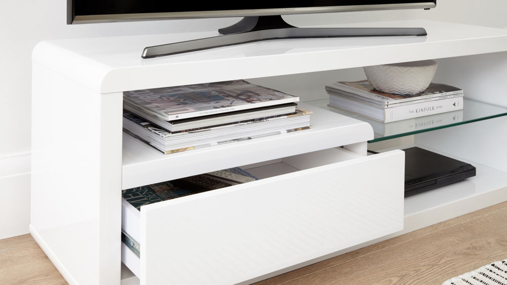 Stunning Unique White Gloss Corner TV Stands Inside Compact White Gloss Tv Table Modern Tv Unit Uk (View 36 of 50)