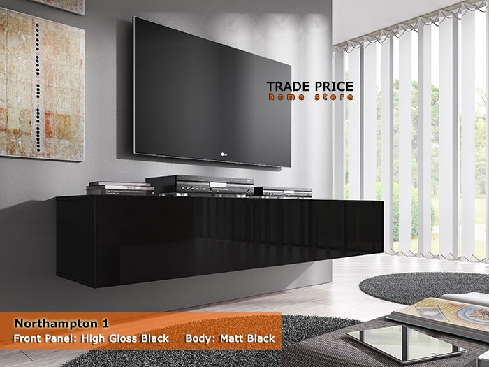 Stunning Variety Of 100cm TV Stands Regarding Floating Tv Stand 160cm Blackwhite High Gloss Front  (Image 47 of 50)