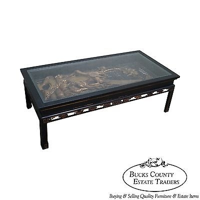 Stunning Variety Of Asian Coffee Tables Regarding Antique Black Gold Chinese Asian Coffee Table W Hand Carved (View 21 of 40)