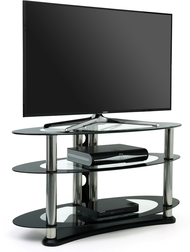 Stunning Variety Of Black Oval TV Stands Within Centurion Supports Gt8 Black 52 Lcdoledled Oval Tv Stand Gt (Image 43 of 50)