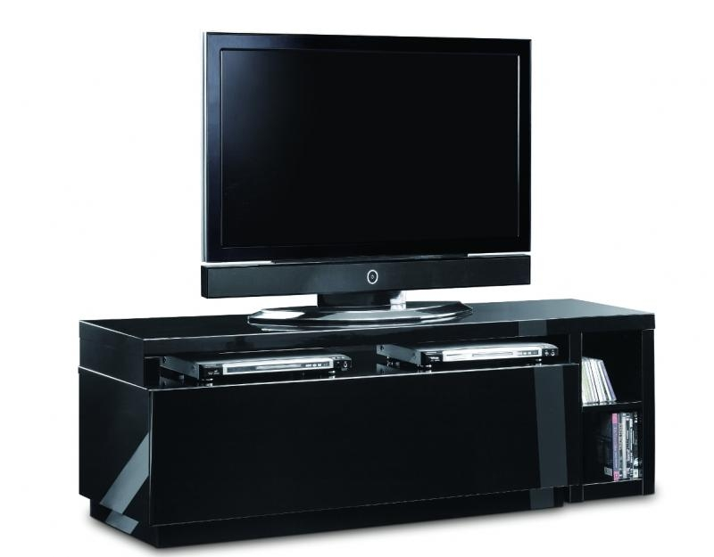 Stunning Variety Of Black TV Cabinets Pertaining To Aina Modern High Gloss Black Designer Tv Cabinet (Image 47 of 50)
