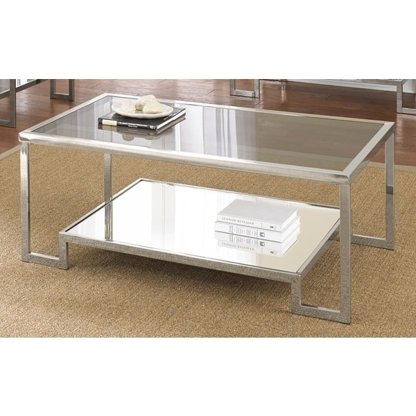 Stunning Variety Of Chrome And Glass Coffee Tables With Regard To Cordele Chrome And Glass Coffee Table Greyson Living Free (View 14 of 50)